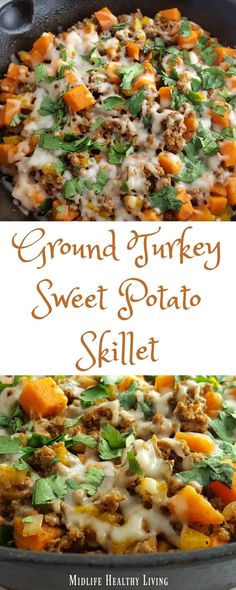 This ground turkey sweet potato skillet recipe is simple, easy, delicious, and Weight Watchers friendly! Each serving is only 6 Freestyle Smart Points. Weight Watcher Dinners, Ground Turkey And Sweet Potato Recipe, Simple Sweet Potato Recipes, Sweet Potato Meals, Ground Turkey Recipes Paleo, Recipes With Ground Turkey, Healthy Turkey Recipes, Chicken Recipes, Sweet Potato Hash