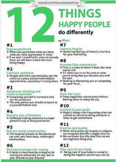 12 Things Happy People Do Differently - most of these work for me.  The rest probably would, if I did 'em!