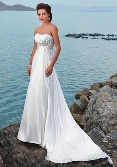 sleeveless column Satin Empire long lace-up back Wedding Dress