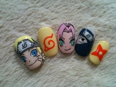 Naruto nails November 19 2019 at Naruto Nails, Anime Nails, Kawaii Nail Art, Wedding Nails For Bride, Color Street Nails, Press On Nails, Cute Nail Designs, Easy Nail Art, Nail Wraps