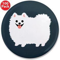 "White Pomeranian 3.5"" Button (100 pack)"