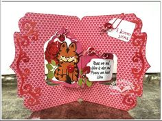 Karen Burniston using the Pop it Ups Tags Pivot Card, Whiskers the Cat and Agatha Edges dies by Karen Burniston for Elizabeth Craft Designs. Also uses the ECD Rose die. - RosesValentineOpen