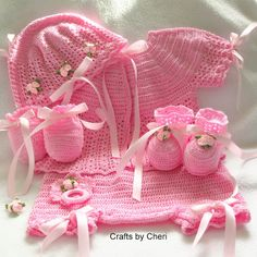 Crafts by Cheri 3 month Crochet baby Sweater set, to buy. No pattern . Crochet Bebe, Crochet Girls, Crochet Baby Clothes, Crochet For Kids, Knit Crochet, Baby Patterns, Crochet Patterns, Baby Layette, Baby Crafts