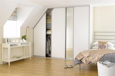 fitted sliding wardrobes doors in white ash and mirror