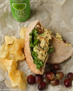 A flavorful chicken salad with curry, grapes and slivered almonds.