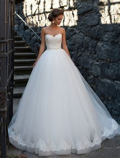 Dream #Wedding Dress 2017! Lace, Tulle, and Satin A-Line Gown with a Strapless Sweetheart Neckline, Lace Fitted and Boned Bodice to Natural Waistline Accented with a Pearl and Crystal Beaded Thin Satin Belt, Gathered Tulle Layered A-Line Skirt, Chapel Train, Back with Corset Closure. #strapless #sweetheart #weddingdresses #bridalgowns #corsetweddingdresses #laceweddingdresses #Dreamwedding #bride #fashion