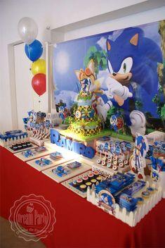 Sonic Birthday Cake, Sonic Birthday Parties, Sonic Cake, Sonic Party, 7th Birthday Party Ideas, Mario Birthday Party, Birthday Party Decorations, 4th Birthday, Sonic The Hedgehog Cake