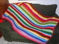 Multicolored Grannyghan Afghan | AllFreeCrochet.com
