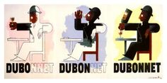 Cassandre - famous ad for Dubonnet. Memories of my childhood: the words Dubo, Dubon, Dubonnet in the metro tunnels just before and after the stations Art Deco Posters, Cool Posters, Vintage Posters, Poster Prints, Vintage Ads, Art Deco Typography, Art Deco Artists, Arts And Crafts Movement, Environmental Art