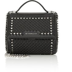 Givenchy Women's Pandora Box Mini Crossbody Bag ($2,790) ❤ liked on Polyvore featuring bags, handbags, shoulder bags, black, crossbody shoulder bags, crossbody handbag, studded crossbody, shoulder strap handbags and chain-strap handbags