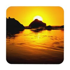 Heavenly Glow Hard Plastic Coasters with cork back. #coasters #beach #sunset
