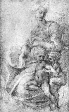 Madonna, Child and St.John the Baptist by Michelangelo Buonarroti Michelangelo, Andrea Mantegna, Italian Sculptors, Art Through The Ages, High Renaissance, Religious Paintings, Madonna And Child, John The Baptist, Western Art