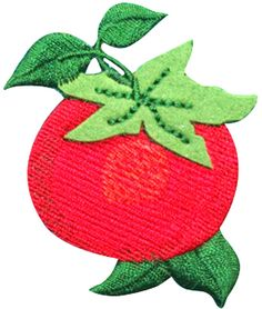 "Amazon.com: [Single Count] Custom and Unique (1 3/4"" by 2 1/2"" Inches) Summer Fruit Gardens Fresh Food Tomato Iron On Embroidered Applique Patch {Red and Green Colors}"