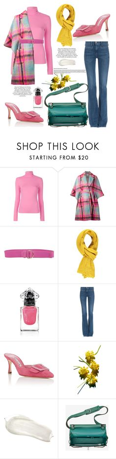 """""""Colourful in PLAID"""" by bernademked ❤ liked on Polyvore featuring Calvin Klein 205W39NYC, Delpozo, Twinset, Forever 21, Guerlain, M.i.h Jeans, Manolo Blahnik, Vanity Fair, contestentry and NYFWPlaid"""
