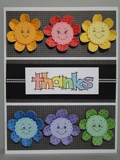 use Peachy Keen stamps for faces on flowers