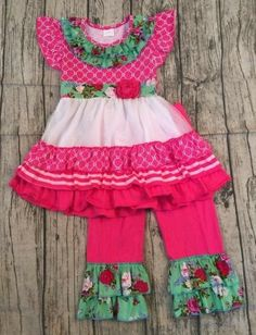 Boutique Childrens Ruffle Top & Pants Set- 2pc.- Southern Floral Passion  *Pre-Order  boutique outfits, clothings sets, ruffles, boys, girls, easter baskets, two piece outfit, monogram, custom,