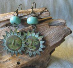 summer sun verdigris earrings by themoonbeam on Etsy