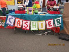 """Scholastic Book Fair Fiesta 2014 Cashier's table.-made something similar but used """"fiesta"""" scrapbook paper on the ends"""