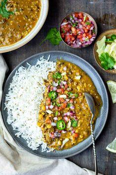 Delicious and healthy vegan Indian meal - Zeera Rice (Cumin flavored Basmati rice), Maa Chole Ki Dal and onion tomato salad.   #dinnerideas #indianfood #vegan #instantpotrecipes #lentils #dal