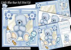Gorgeous little blue bear with gingham button 8x8 Mini kit on Craftsuprint - Add To Basket!