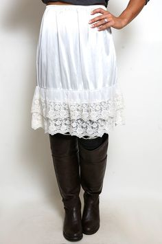 Lovin' Lace Skirt Extender Slip in Ivory- fits under dresses that are too short- great idea!
