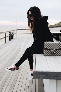 All Black with Floral Sneakers and Gucci Purse