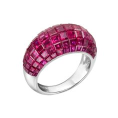 Estate Betteridge Collection Invisible-Set Ruby Bombé Band Ring - * love invisible setting *