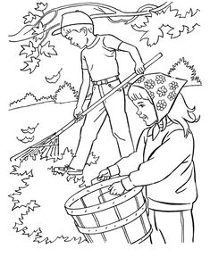 kids fall coloring pages free printable collecting fall leaves coloring pages featuring kids coloring book page sheets