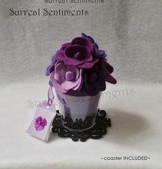Violet Purple Cup of Roses mini Gift Card & by SurrealSentiments