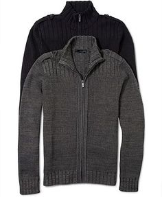 Calvin Klein Jeans Sweater, Full Zip Ribbed Sweater - Mens Sweaters - Macy's