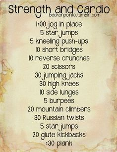 An easy strength and cardio workout that works the entire body while keeping the heart rate high!