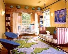 I love the couch swing, I would make it a floating bed and just had a cover/fitted sheet and a big puffy quilt on it to keep it nice and neat. The map rug is amazing too