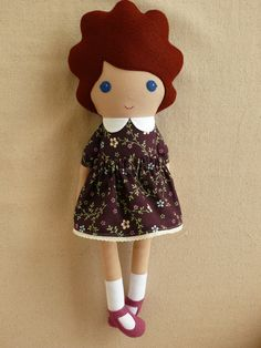 Reserved for Chelsey - Fabric  Doll in Plum Calico Dress and Mulberry Maryjanes