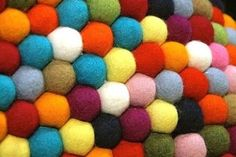 The Pinocchio felted wool carpet is named after colorful Danish candy.