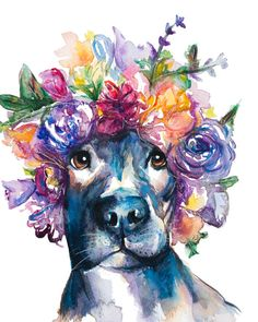 Vibrant Pitbull watercolor painting by EbbAndFlowWatercolor