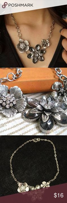 Floral statement necklace New with out tags. Beautiful necklace that goes with almost everything. Not heavy. Adjustable chain. Jewelry Necklaces