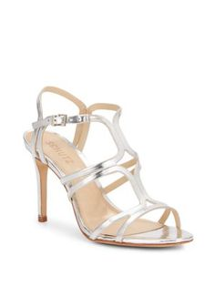 Malinda Metallic Leather Sandals, Prata