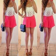 Pretty pink skirt, perfect with the lace top