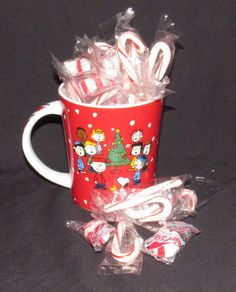 Christmas Peanuts Gang Coffee Mug Filled With Candy Canes and Peppermint Puffs #Christmas