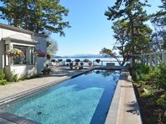 Orcas house rental - The glistening lap pool can be heated on request.