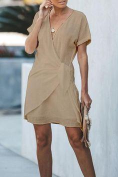 V-neck cross short sleeved shift dress Bodycon Dress With Sleeves, Long Shirt Dress, Short Sleeve Dresses, Dresses With Sleeves, Sleeved Dress, New Trend Dress, Plain Dress, Dress Silhouette, Casual Dresses