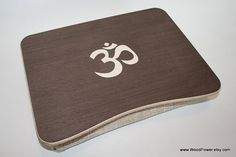 """Wooden Laptop Bed Tray / iPad Table / Breakfast Tray / Laptop Stand with """"Om"""" / """"Hinduism"""" Themed Inlay on Etsy, $33.00"""