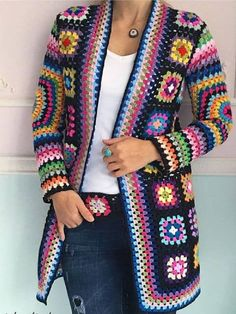 Crochet granny square jacket pattern cardigans New Ideas Pull Crochet, Mode Crochet, Diy Crochet, Hand Crochet, Crochet Jacket Pattern, Crochet Cardigan Pattern, Point Granny Au Crochet, Granny Square Sweater, Crochet Afghans