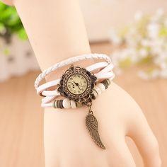 Ladies Girls Long Leather Strap Bracelet Watch Vintage Quartz Analog Casual Wing Pendent Wristwatch