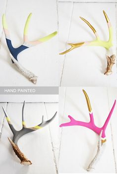 hand painted antlers, finally, Jared's stash of ugly antlers has a purpose! Decor Crafts, Home Crafts, Arts And Crafts, Diy Crafts, Antler Crafts, Antler Art, Painted Antlers, Hand Painted, Shed Antlers