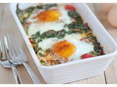 Receta de Huevos al Horno con Espinaca