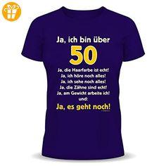 Ja ich bin über 50! Ja die Haarfarbe ist echt ... Geburtstags Fun T-Shirt Farbe navy-blau in Größe XL - Shirts zum 50 geburtstag (*Partner-Link)