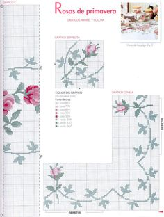 Gráfico de toalha de mesa luxuosa com rosas   MANIA DE BORDAR