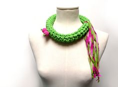 Crochet Statement Necklace  Lime Green Upcycled Jersey by ixela