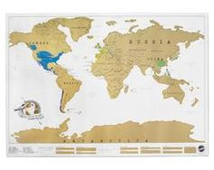 """World Scratch Map  $28.00 Track your travels with a handsome scratch-off-where-you've-been map that charts globetrotting in a fun, colorful and innovative way. Scratch off the areas you've visited to reveal adventurous pops of color that turn traveling into a """"domestic"""" treasure hunt... More at Karmaloop.com."""